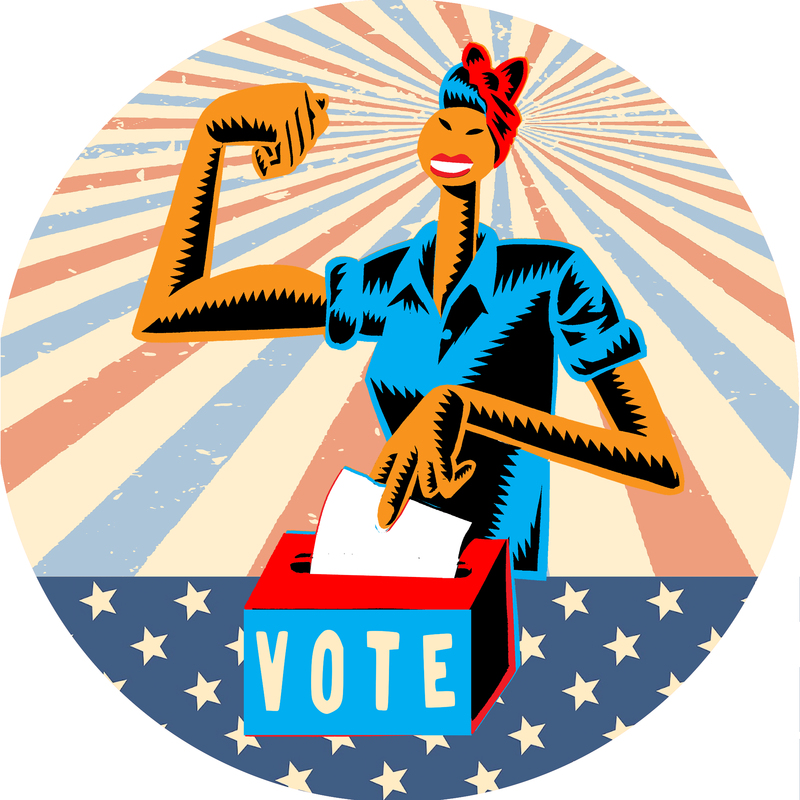 Rosie the Riveter dropping vote into box