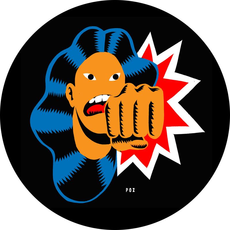 Woman punching; dark background